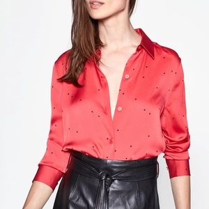 Equipment Red Printed Essential Cropped Blouse